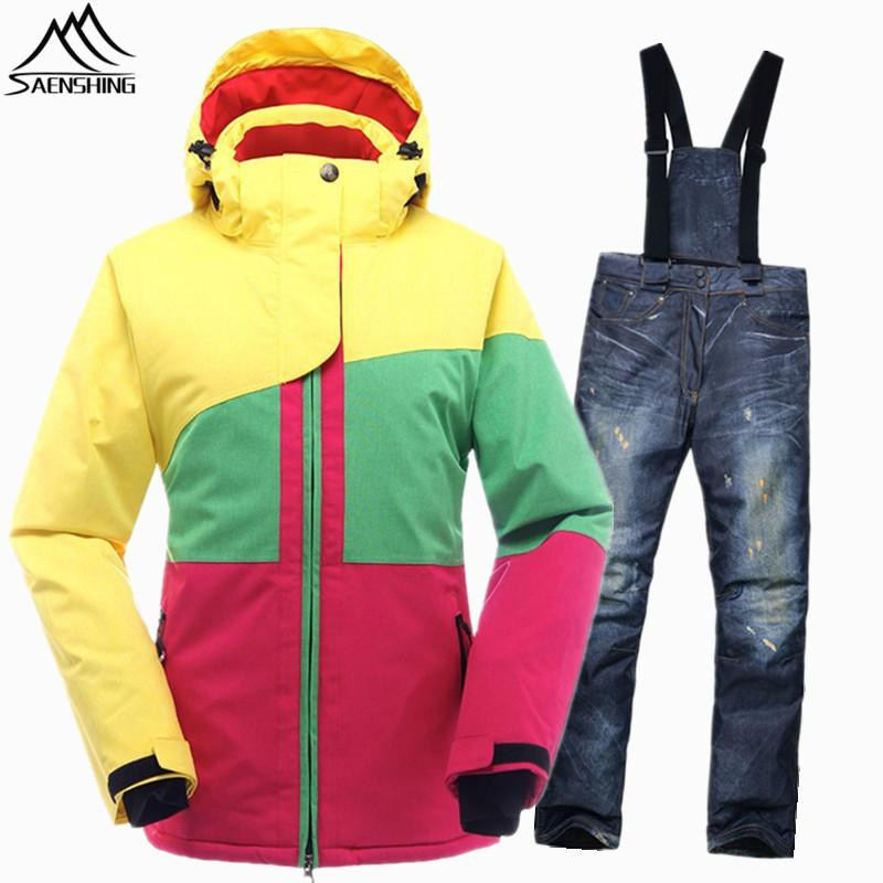 SAENSHING Brand Snowboarding Suits Girls Snow Jacket Waterproof Windproof Womens Ski Suit Snowboard Jacket Sets Thermal Winter