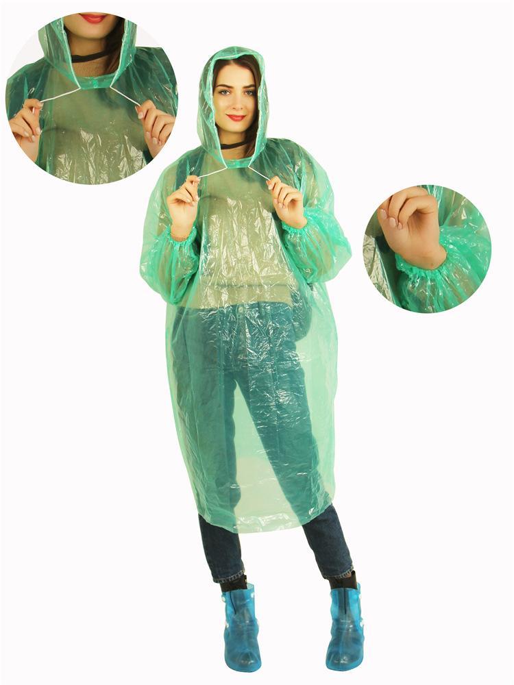 Moda Un tempo Fy6043 Raincoat calda monouso PE Impermeabili monouso Poncho impermeabili Viaggi cappotto di pioggia Pioggia di usura