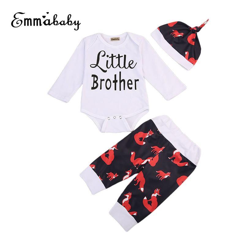 3PCS Hermanito Leeters imprimieron desgaste determinado del niño infantil de los bebés de manga corta del mono y camisetas Pantalones Trajes Sombrero 0-18M