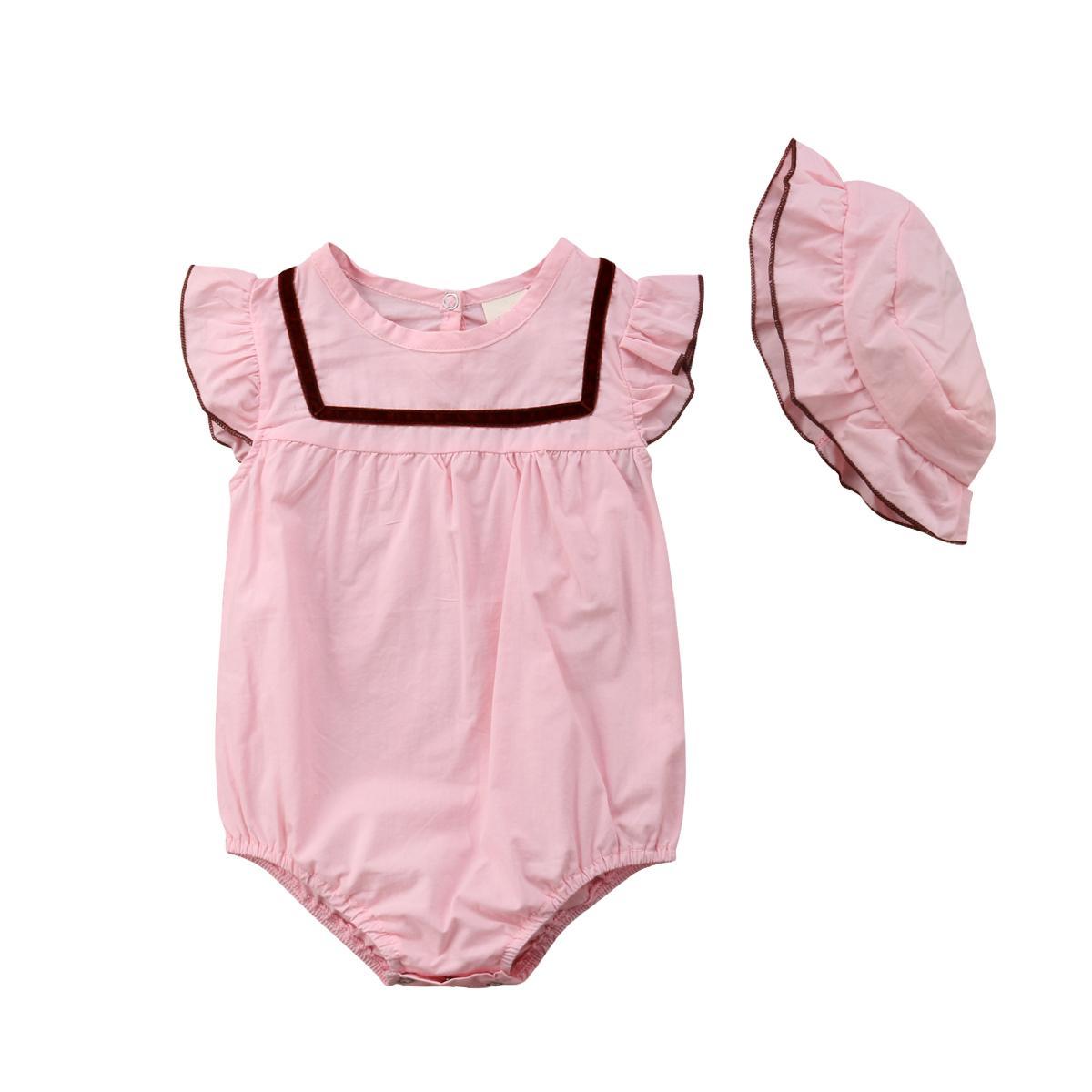 Новорожденный Младенец Девочка Розовый Комбинезон Без Рукавов Боди Sunsuit Cap Лето Из Двух Частей Наряд