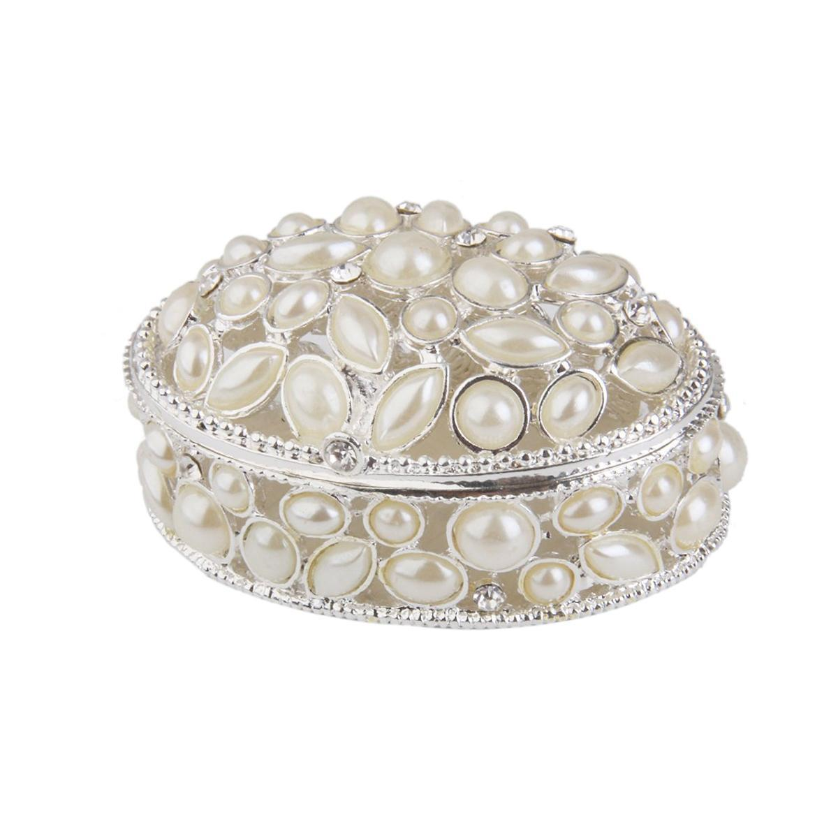 Faux Pearl Embellished Oval Jewelry Box Organizer Travels Portable For Girls