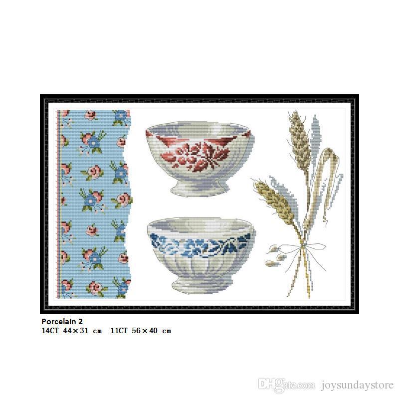 Porcelaine 2 Peintures De Paysage Comptées Imprimées Sur Toile DMC 11CT 14CT Point De Croix Chinois kits broderie Couture en gros Décor À La Maison