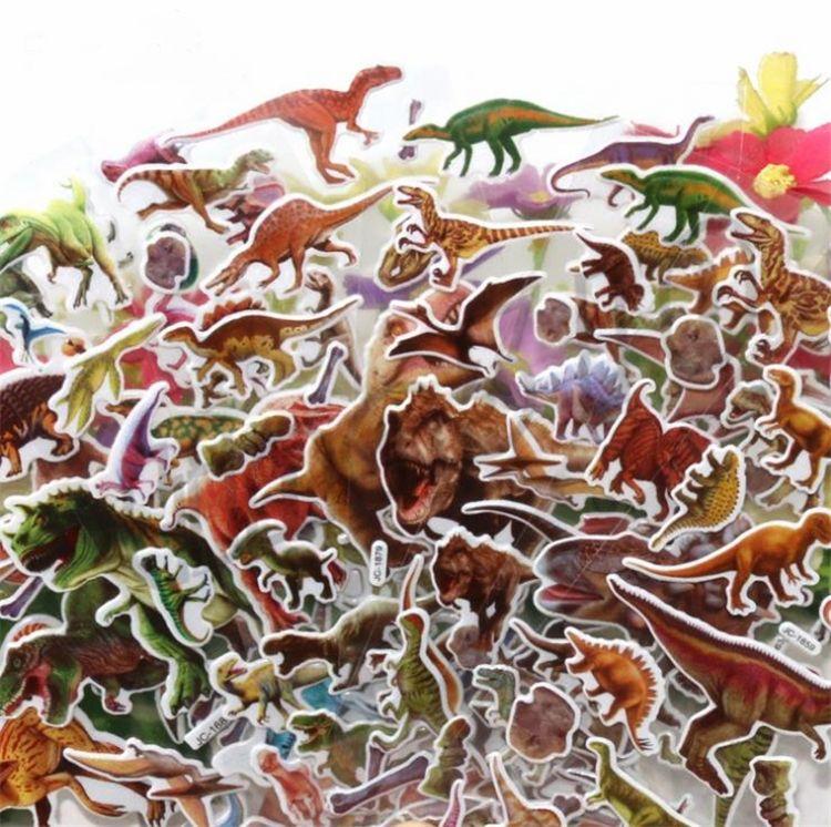 Nova Etiqueta Dos Desenhos Animados adorável Adesivos de Parede Do Berçário Das Crianças Dos Miúdos Quarto Quarto Dinossauro Adesivos Papel De Parede colar Puffy Adesivo I515
