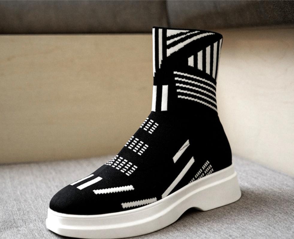 Mujeres que hacen punto calcetines del tobillo botas blancas rayas geométrica elástico cuña zapatos del tacón alto Plataforma Negro Oxford Nueva C885