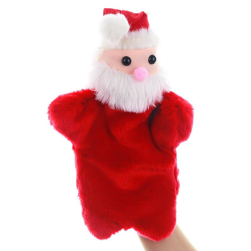 Christmas Hand Puppet Cartoon Santa Claus Plush Puppets Doll Baby Plush Toys Kid Plush Hand Puppet Toys OWA728