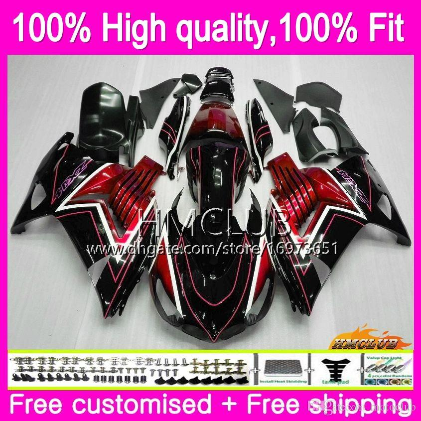 Injection For KAWASAKI ZX 14R ZZR 1400 ZX14R 12 13 14 15 16 17 73HM.0 ZZR1400 ZX-14R 2012 2013 2014 2015 2016 2017 OEM Fairing Red black hot