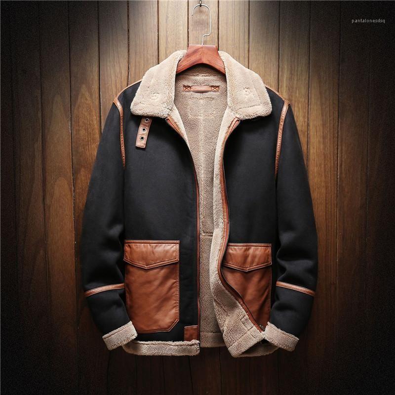 Lapel Neck Panelled Thickened Fleece Jacket Mens Outdoor Clothing Plus Size Mens Designer Jackets Fashion