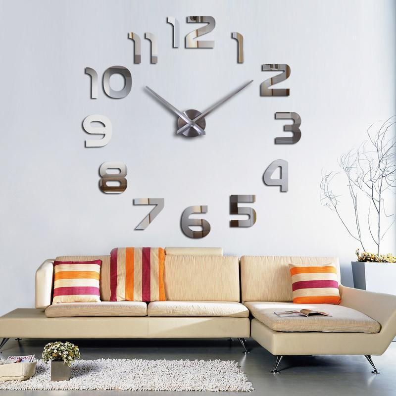Horloges New 3d Horloge murale design grand miroir acrylique Horloges Stickers Accessoires de salon de décoration Maison Horloge sur le mur