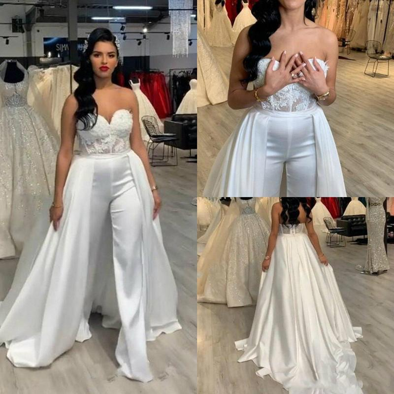 Lace Women Wedding Jumpsuit With Detachable Train 2020 Strapless White Bride Wedding Gowns With Pant Suit Plus Size Wedding Dress Bride Wedding Dresses Bridal From Idodresser 148 75 Dhgate Com,Formal Dresses For Wedding South Africa