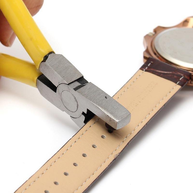 Reloj de alta calidad para la correa de la banda Link Belt Hole Punch Alicates Ojaletas de cuero herramientas de reparación de la mano