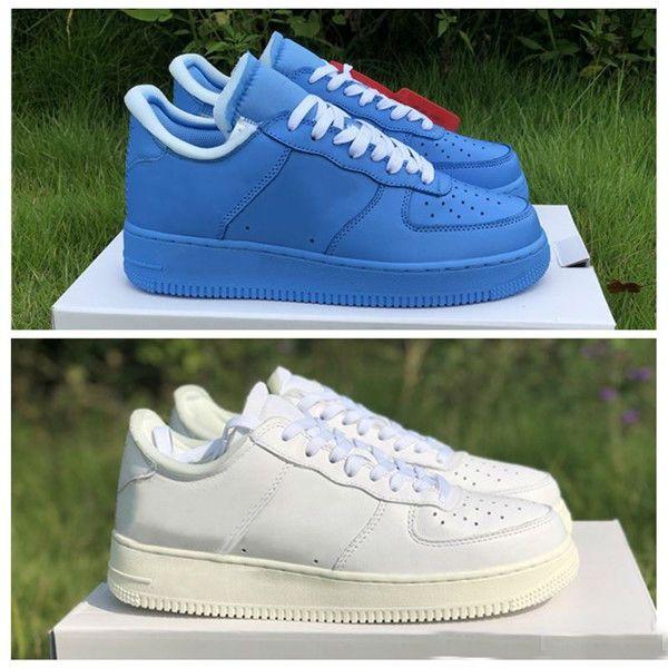Atacado 1 White 1s Universidade MCA azul Moma Prata Branco Virgil Mens Running Shoes For Men Sports Designer Sapatilhas Chaussures Trainers