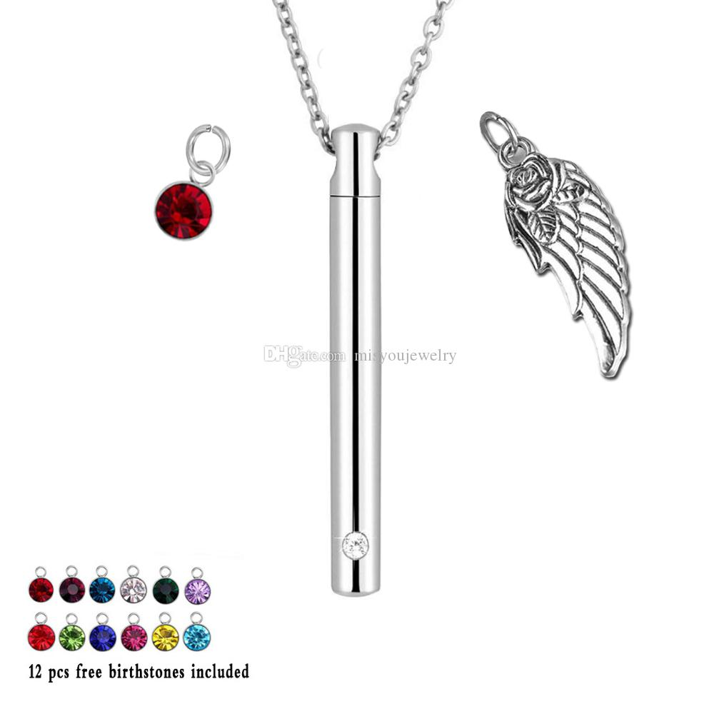 12 Colour Birthstone Cremation Urn Jewelry Bar Cylinder Memorial for Ashes angel Wings Necklace Pendant Keepsake