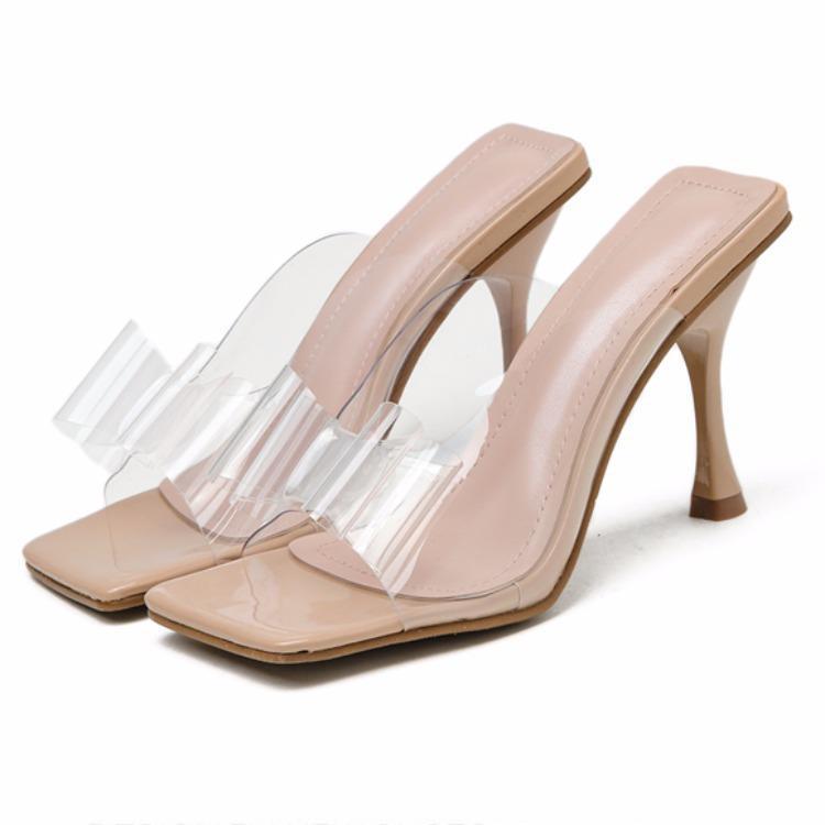 أحذية هلام ذات عقدة فراشة نعال إمرأة كعب قدم مربع مثير صندل مصارع ينزلق