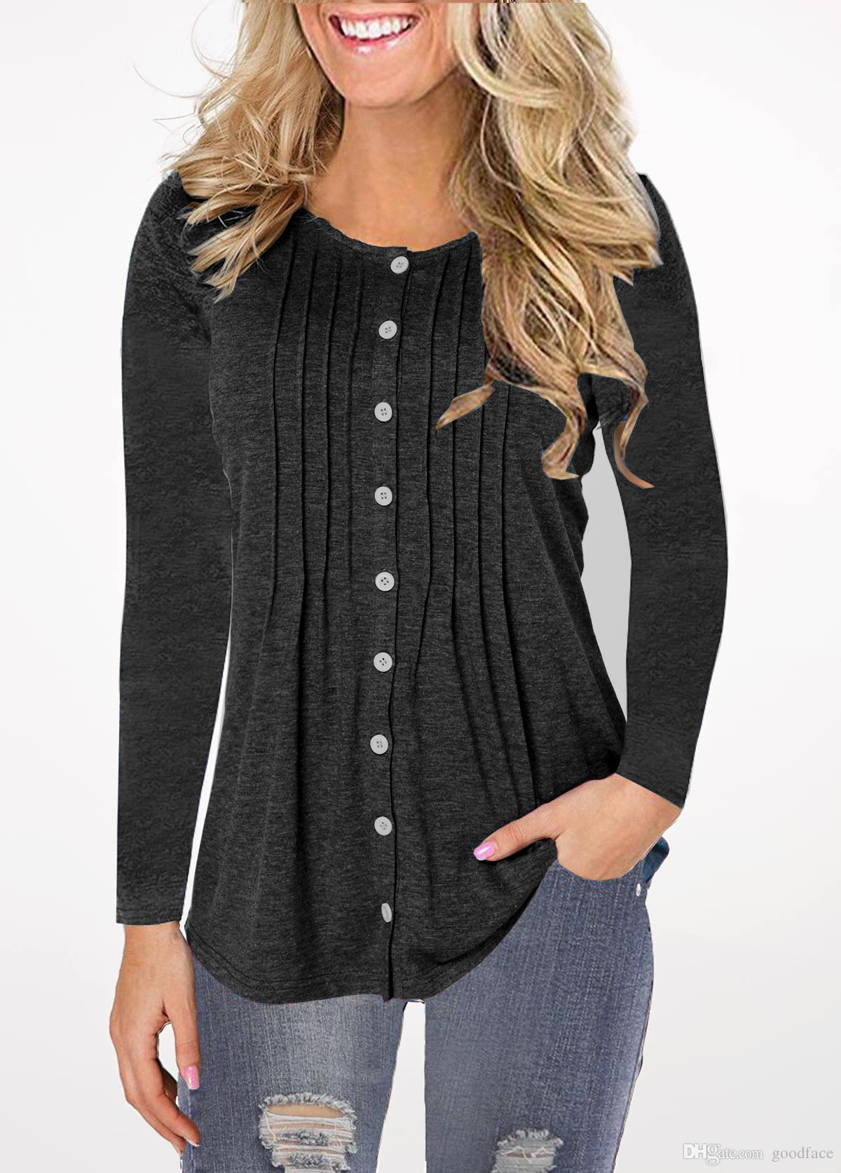 Blusas arco-íris Gradiente Mulheres Fold coloridas Tops Imprimir Moda Sweater soltas Casual Shirt Pullover Blusa Tees Plus Size por goodface