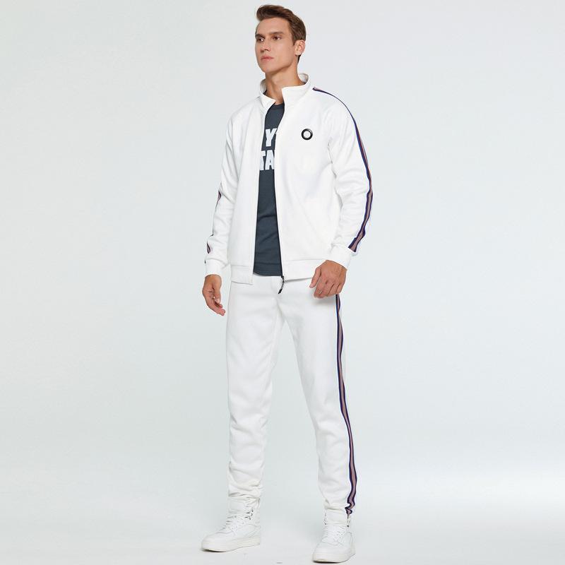 2020 New 2 Stück Herbst Laufanzug Männer Sweatshirt Cardigan Sports Set Gym Kleidung Männer Zip Up Trainingsanzug Sport Wear