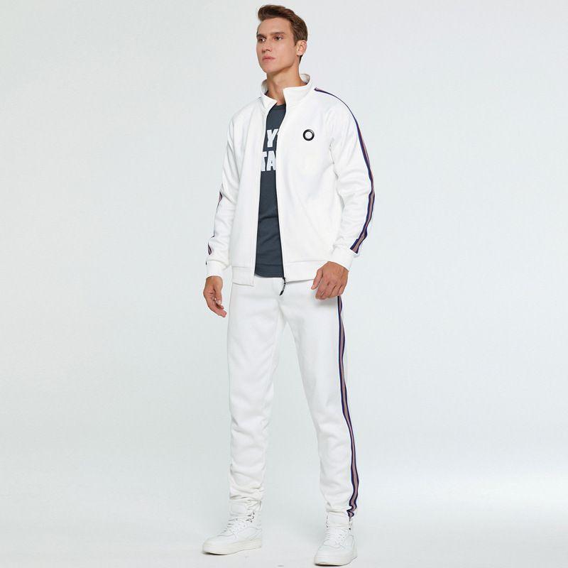 2020 Новый 2 шт Осень Запуск Tracksuit мужчин Толстовка Кардиган Спорт Установить спортивную одежду мужчин Zip тренировочные костюмы Спортивная одежда
