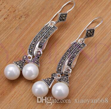 hot sell new - shitou 00730 Elegant tibet silver round bead cluster stone coral gem dangle earrings