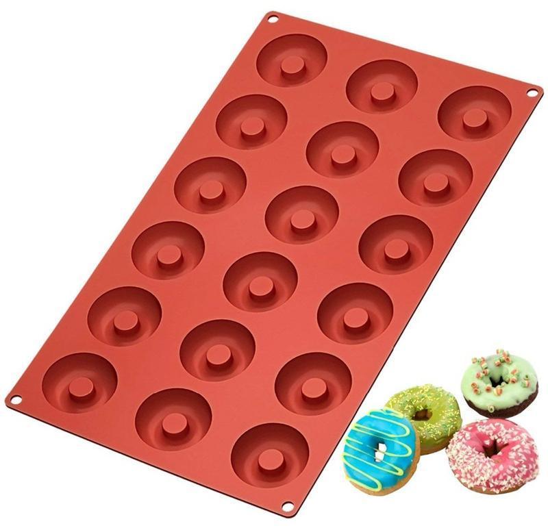 دونات قالب الشوكولاته قوالب غير عصا سيليكون دونات صانع السلامة الخبز العفن أدوات الكعك الصغيرة الكوكيز الخبز HHA677