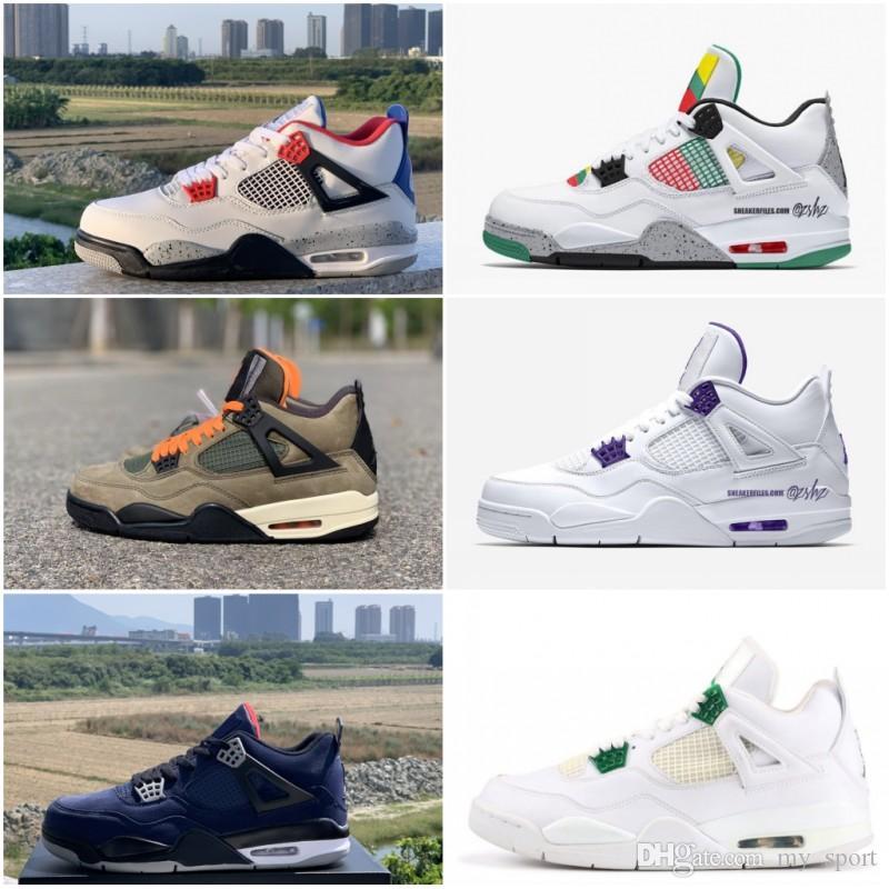 رجل 4 فون 4S أحذية كرة السلة المحكمة البنفسجي الصنوبر الخضراء القمح ما إن ترافيس الموالية الأزرق رجل رياضة حذاء مصمم أحذية الولايات المتحدة 7-13
