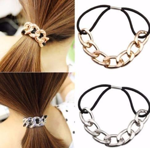 Coreano acessórios de cabelo Tie Scrunchy cadeia de metal Bandas Headband Headwear borracha Mulheres Meninas Elastic hairband