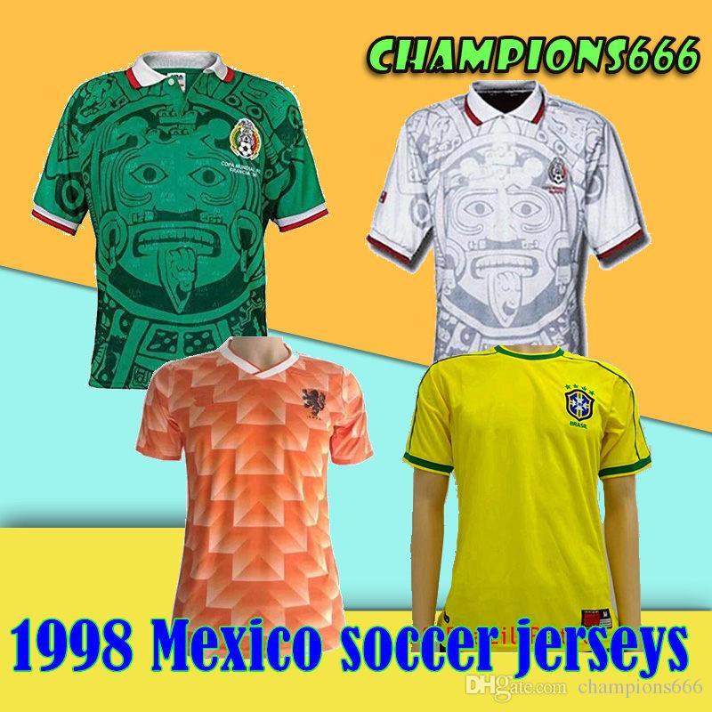 1998 년 월드컵 멕시코 레트로 축구 유니폼 1998 멕시코 내셔널 축구 팀 어웨이 축구 셔츠 # 11 BLANCO # 2 SUAREZ Football Jersey