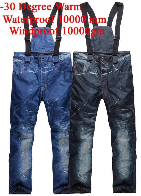 الجملة-رخيصة سنو الدينيم الرجال مريلة تزلج Trousers10K ماء يندبروف -30 الدافئة على الجليد السراويل الشتاء في الهواء الطلق الرياضة الحمالات السراويل