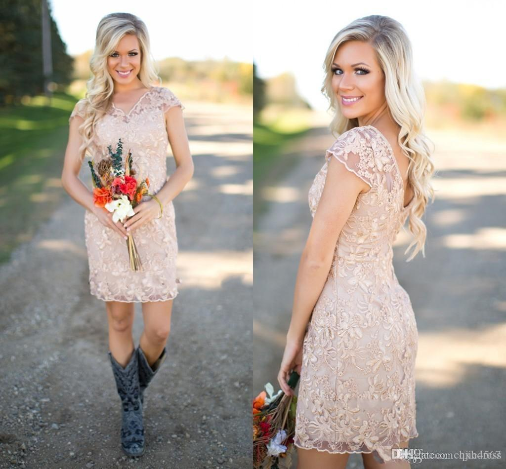 2020 New Country Bridesmaid Dresses V Neck Full Lace Short Sleeves Champagne Sheath Guest Wear Party Dresses Maid of Honor Gowns 521
