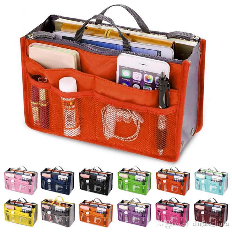 여성 Comestic Organizer Bag In Bag 더블 지퍼 휴대용 다기능 여행 주머니 핸드백 메이크업 가방