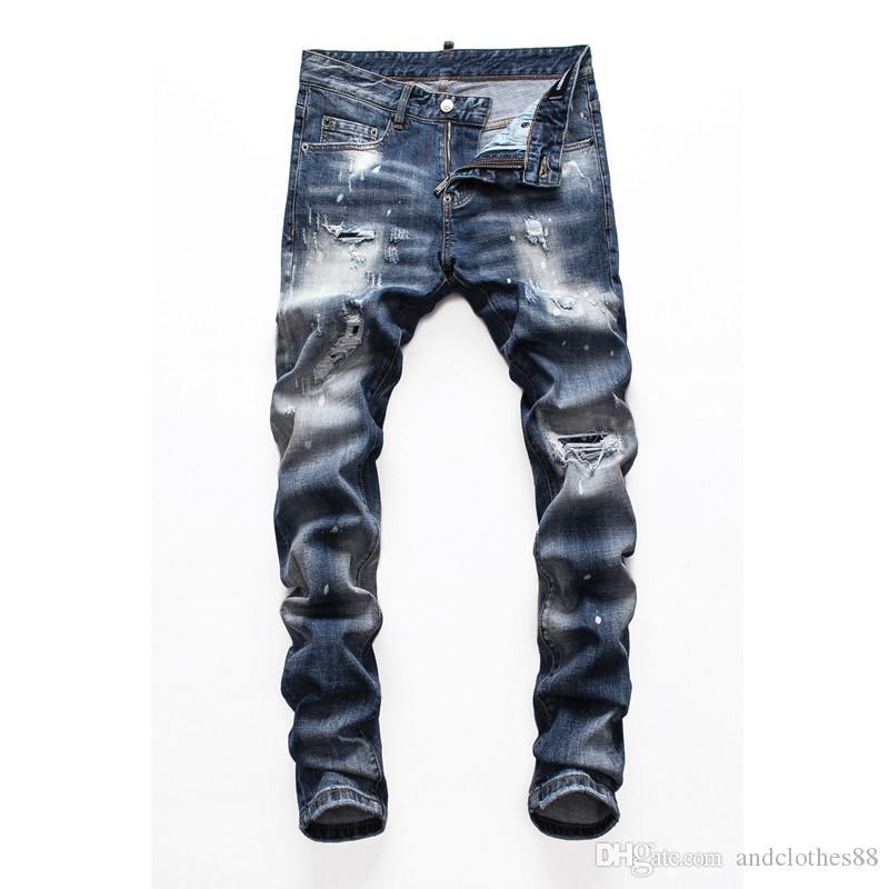 Top qualité Marque Designer jeans hommes Pantalons de broderie Trous de mode Pantalons Italie jeans skinny motard Ripped de luxe pour hommes