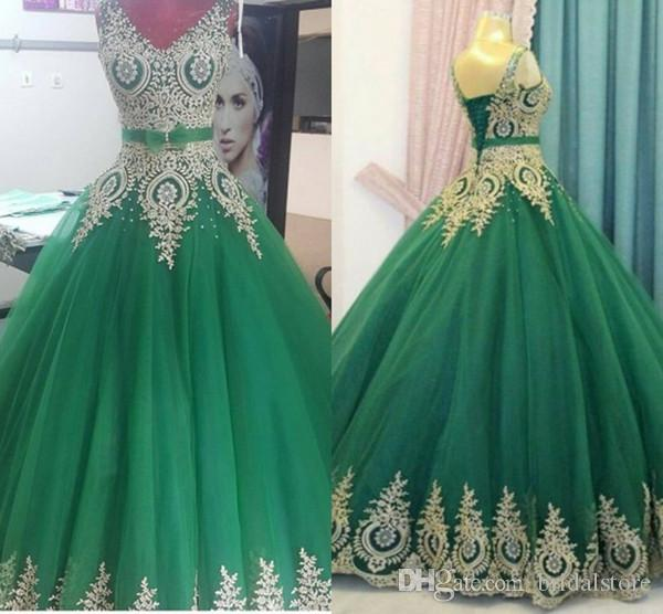 Hunter Green With Gold Lace Quinceanera Dresses Ball Gown Corset Back V-Neck Long Masquerade Prom Evening Gowns Plus Size Sweet 16 Dress