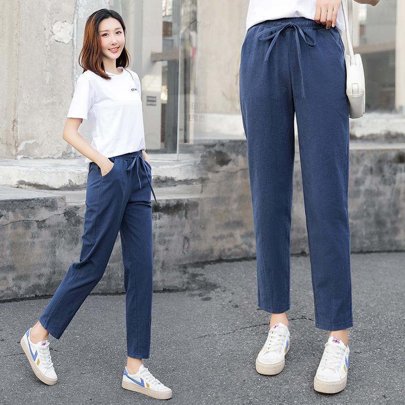 Kadın Pantolon Capris Bayan Yaz Pamuk Keten Katı Elastik Bel Şeker Renkler Harem Pantolon Yumuşak Kadın Ladys S-XXL Için Yüksek Kalite