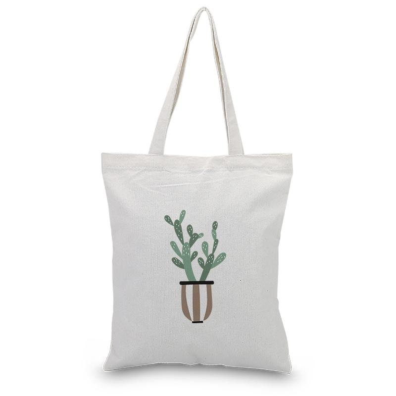 Handbag Canvas Tote Bag Plant Series Custom Print DIY Daily Use Shopping Bag Eco Ecologicas Reusable Recycle
