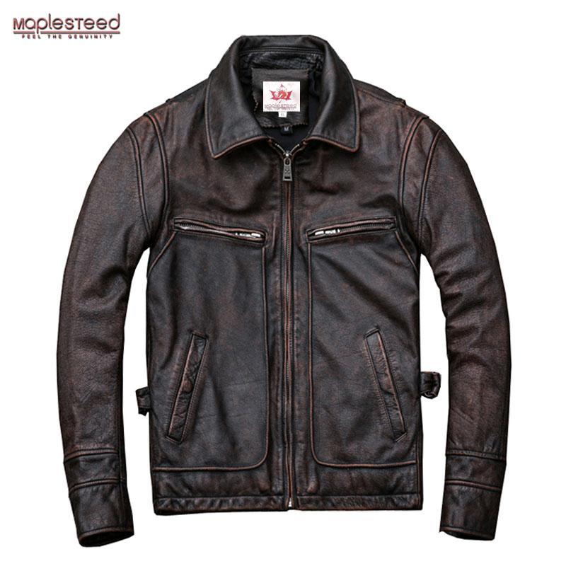 MAPLESTEED Marque Amekaji Motor Biker style Veste en cuir noir rouge brun de peau de vache Vintage Vestes d'hiver d'hommes Manteau 5XL M100 CJ191128