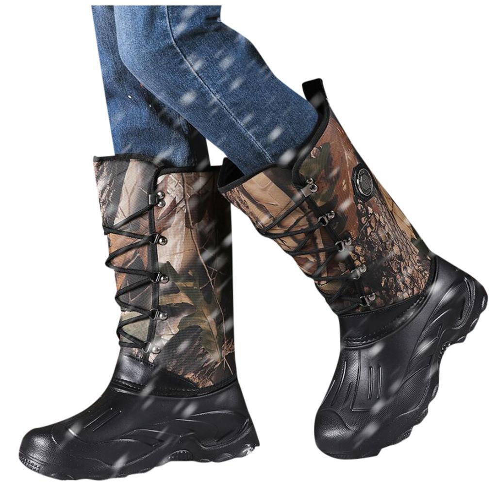 Hiver Hommes Outdoor Chasse Randonnée Thicken Chaussures chaudes Plus Soles antidérapants pêche imperméable Bottes de neige # G3