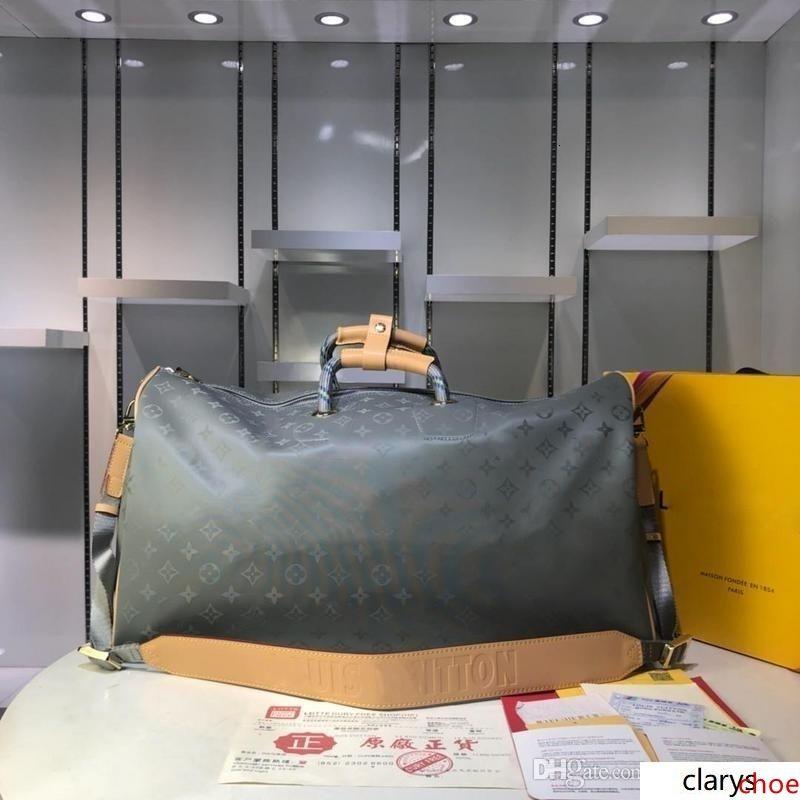 LoVuitto designerss Keepall 50 bandoulière monogramas Titanium Bag Cinzento M43886 ombro KIM JONES
