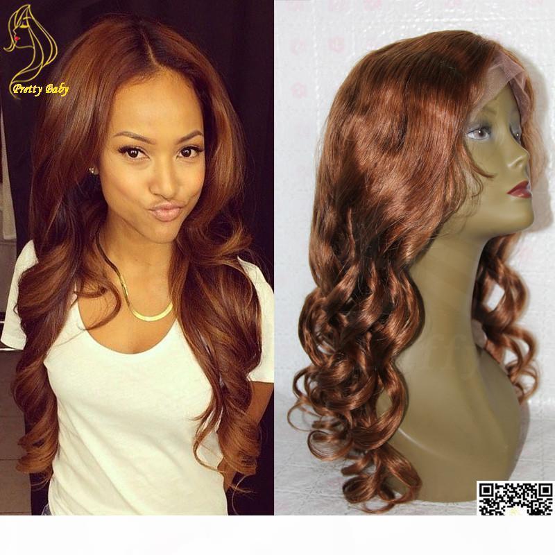 Honey Blonde pleine perruque de dentelle du corps humain Cheveux ondulés vague du Pérou Dentelle Front Wigs Cheveux blonds Couleur # 30 Cheveux Lace Wig