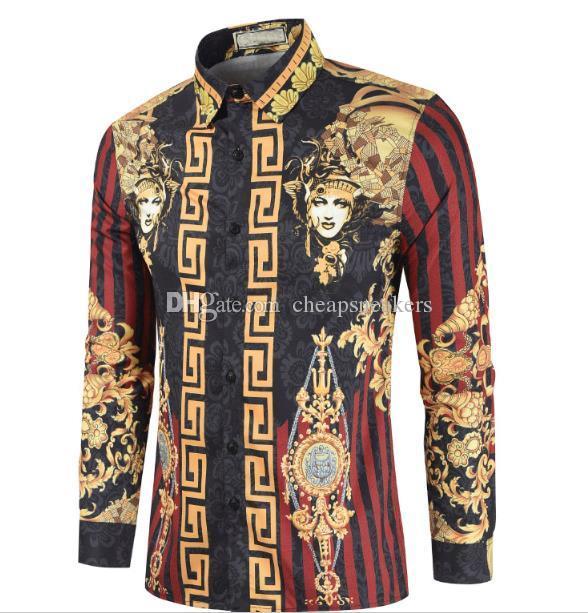 Camisa de vestir casual para hombres Camisas de algodón delgadas y aptas para hombre Geometría de la impresión Camisas de negocios informales