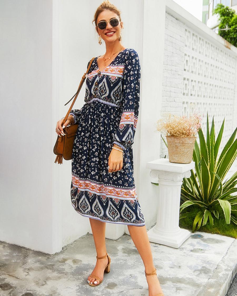 vestidos de las mujeres ropa de vestir de impresión nueva manga larga casual de vacaciones Bohemia resorte de la ropa de verano para mujeres