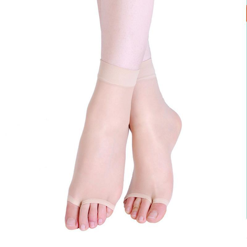 Women Thin Crystal Socks Female Casual Sock Toe Fress Sexy Socks Ultra-thin Tights with Open Toe Shoes Fish Mouth Short Free Size Loose