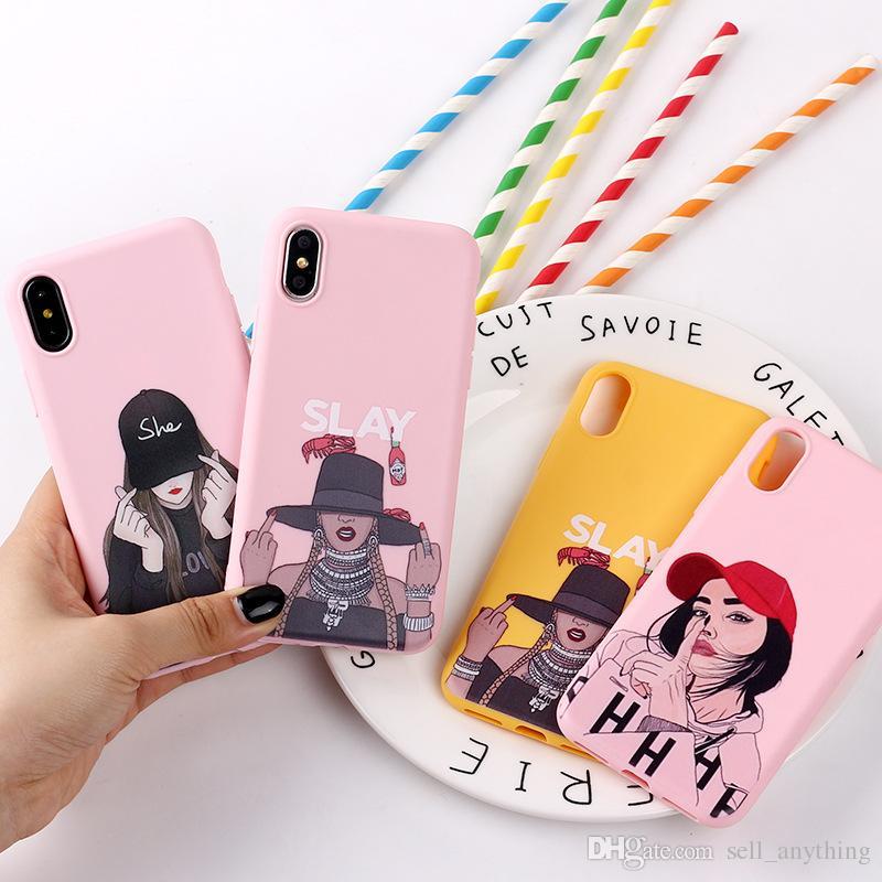 Para Iphone 11 Pro Xs Max menina Xr Moda Idea Phone Case 6 7 8 x mais animados Phone Cases Painted Soft Cell