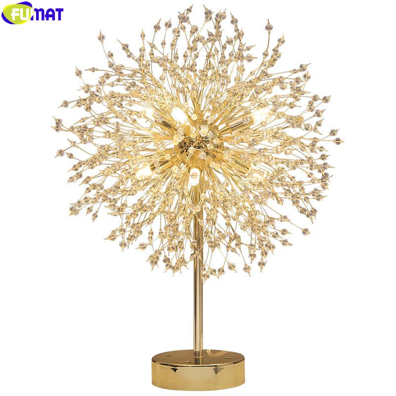 FUMAT Crystal K9 Dandelion Ball Desk Lamp G9 LED Table Light Fixture Pompon Modern Art Style Creative Decor Electroplating Gold