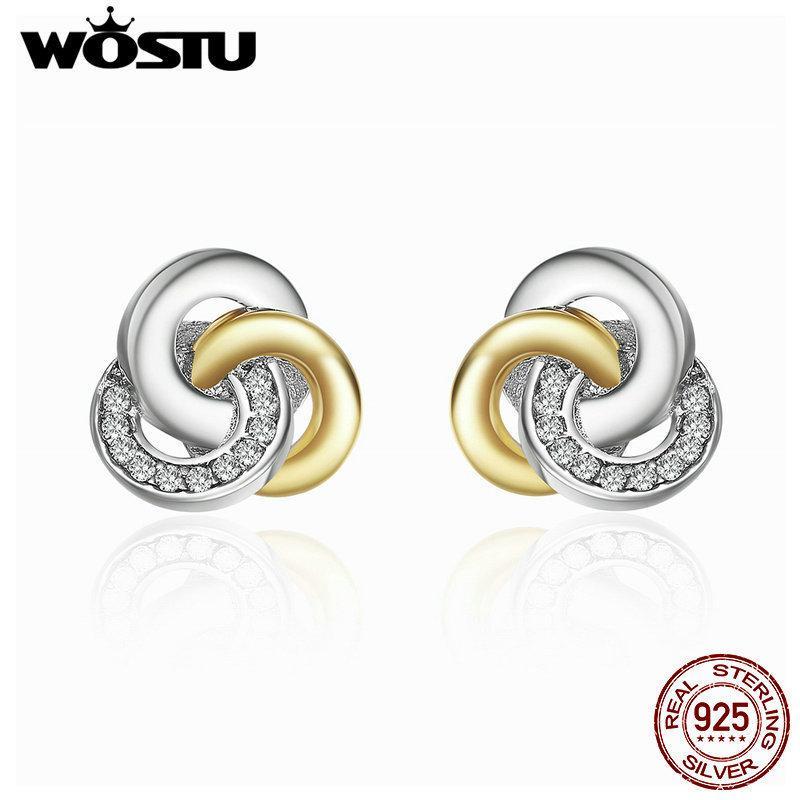 Wostu Echt 925 Sterling Silber Verkettete Kreise Ohrstecker Für Frauen Luxus Edlen Schmuck Geschenk Xchs511 T7190617