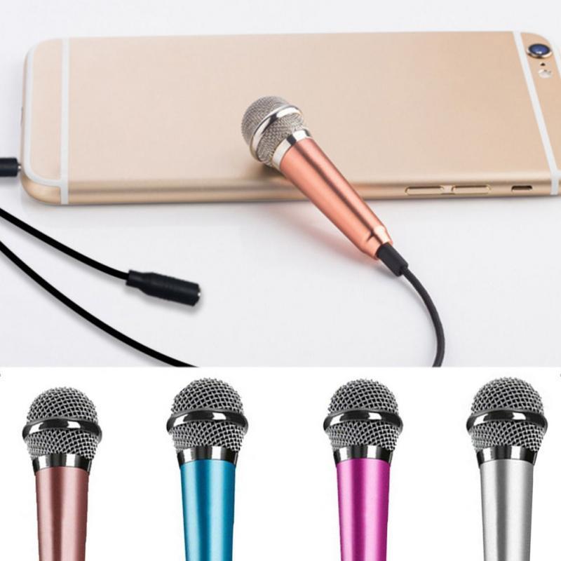 Portable 3.5mm Stereo Studio Mic KTV Karaoke Mini Microphone For Cell Phone Laptop PC Desktop 5.5cm*1.8cm Small Size