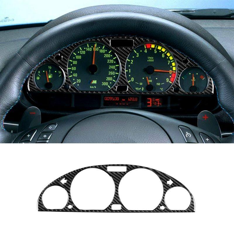 Fibra de carbono centro consola instrumento Panel pantalla cubierta pegatina para BMW Serie 3 E46 M3