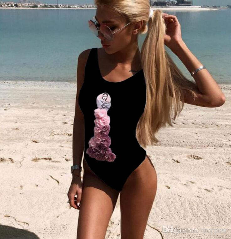 Sexy High Cut Swimwear Women One Piece Swimsuit 3D Flowers Print Bathing Suit Monokini Beachwear Bodysuit Bikini Swimming Suit Beach Wear