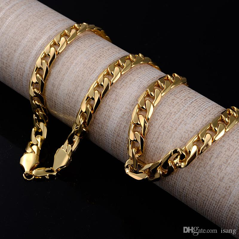 2020 Fashion Luxury Jewerly 18k Yellow Gold Cuban Chain 10MM Width Necklace for Women and Men 60cm (23.6inch)