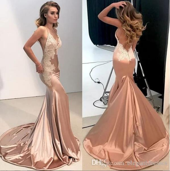 Spaghetti Strips Slim Mermaid Prom Dresses Sexy Backless 2020 Simple Custom Sepcial Occasion Party Gowns Spring Vestidos De Soiree