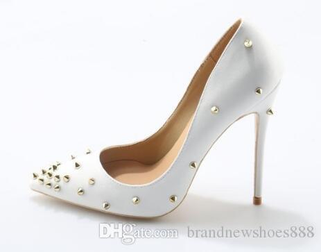 Sexy weiße Frauen pumpt 10cm hohe Absätze Qualitätsschuhe Nieten-Dame-Hochzeits-Schuhe große Größe