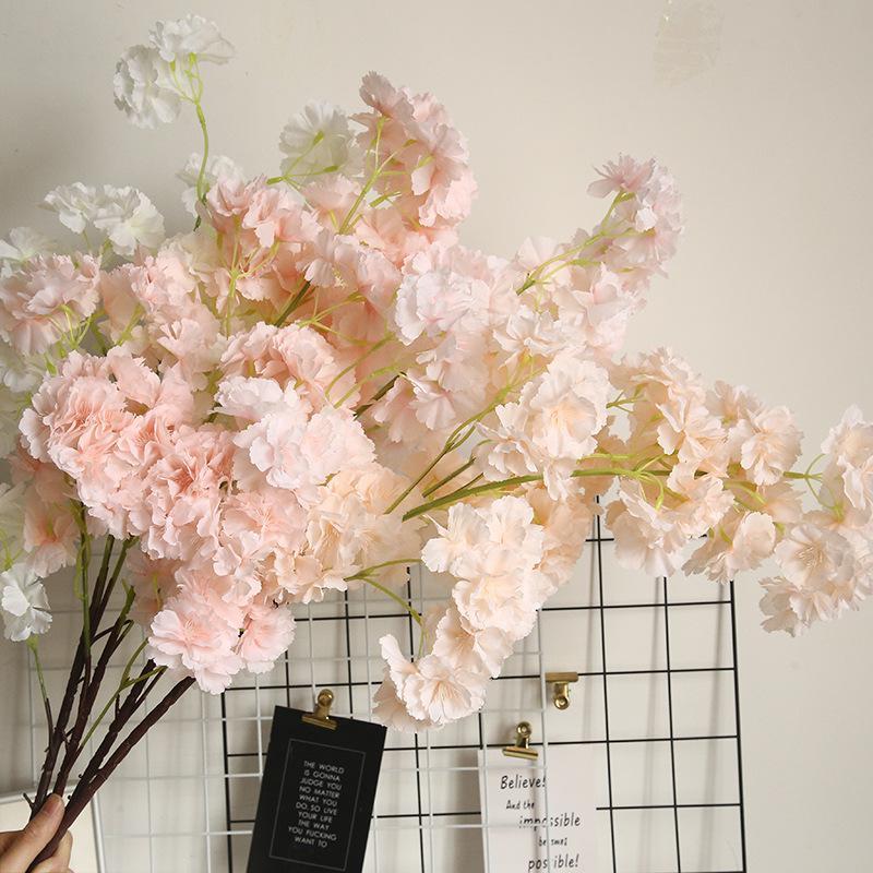 Decoração Flor Falso 1Branch Artificial Cherry Blossoms Decoração do casamento da flor parede planta cerejeira DIY Falso