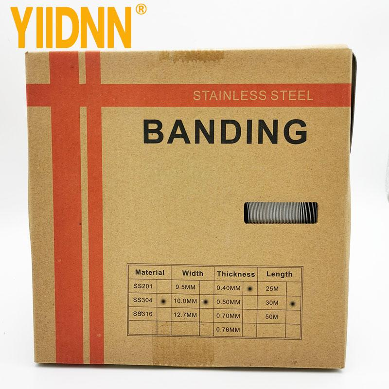 "304 Stainless Steel Band, 3/8"" larghezza x 0.016"" di spessore, 100 Feet rotolo, 10mm X 0,4 millimetri X 30m"